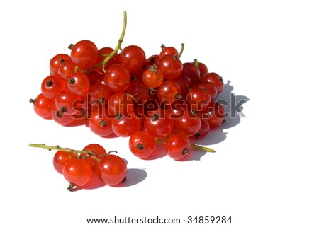 bunch of redcurrants isolated on white - stock photo
