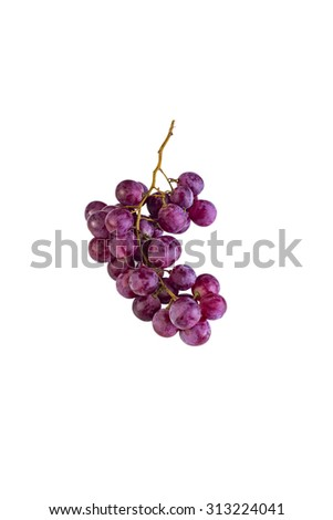 Bunch of ripe and juicy red grapes against white background - stock photo