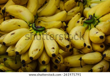 Bunch of ripe bananas at a street market