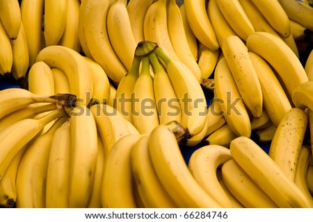 Bunch Of Ripe Bananas At A Street Market In Istanbul, Turkey.  Carsamba Fatih Pazari (Bazaar) - stock photo