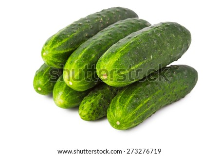 Bunch of ripe cucumbers isolated on white background