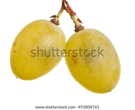bunch of ripe grapes isolated on white background