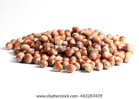 bunch of ripe hazelnuts as part of the use of food - stock photo