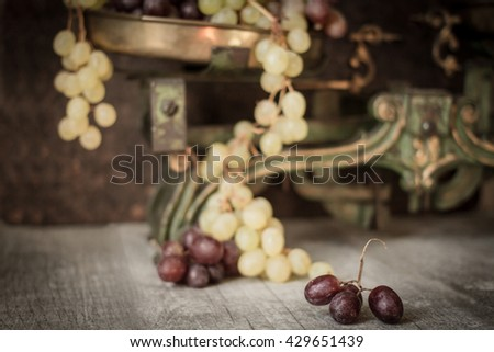 Bunch of ripe juicy grapes for wine - stock photo