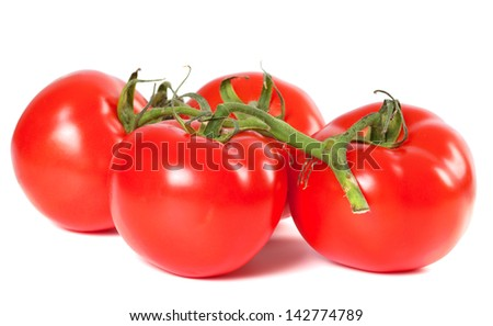 Bunch of ripe tomato on white background - stock photo