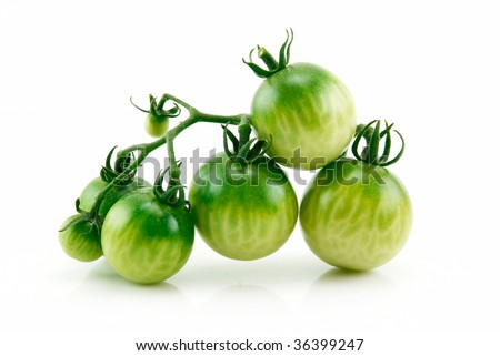 Bunch of Ripe Yellow and Green Tomatoes Isolated on White Background