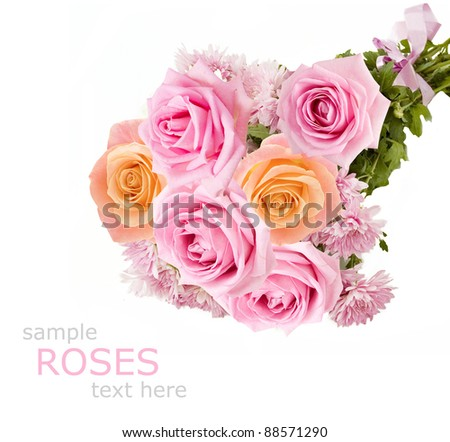 Bunch of roses and chrysanthemum isolated on white with sample text