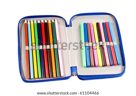 Bunch of school art equipment in pencil case full of felt-tip pens and crayons, colored objects isolated on white in horizontal orientation, nobody in frame, studio shot. - stock photo