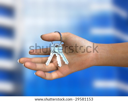 Bunch of shiny keys in woman's hand