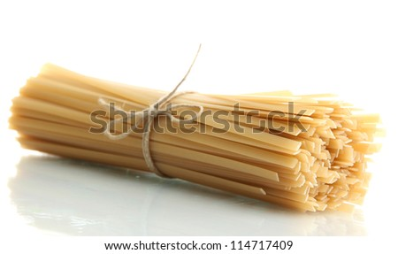 Bunch of spaghetti, isolated on white - stock photo