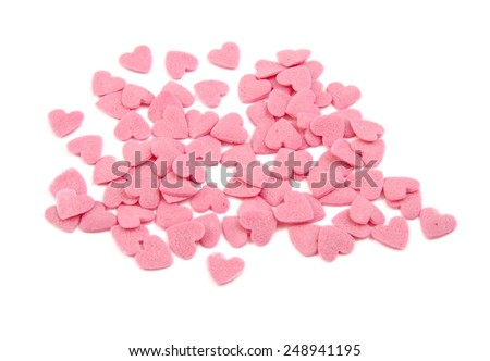Bunch of sugar hearts. Cake decoration. Valentine's Day concept