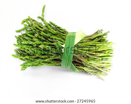Bunch of tied wild asparagus over white - stock photo
