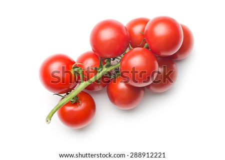 bunch of tomatoes on white background - stock photo