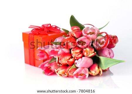 Bunch of tulips and gift - stock photo