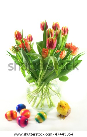Bunch of tulips with Easter decoration