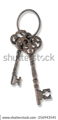 bunch of two vintage keys isolate on white - stock photo
