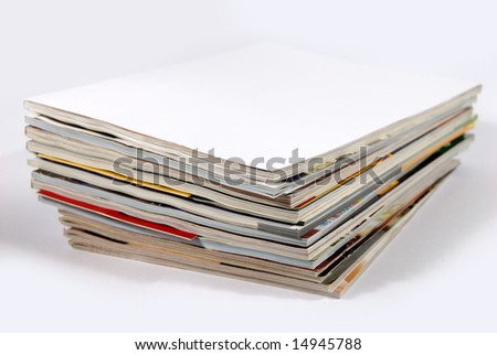 Bunch of used magazines - stock photo