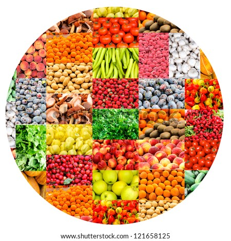 Bunch of vegetables and fruits - stock photo