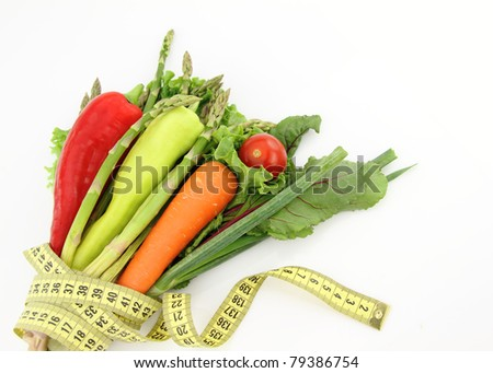 Bunch of vegetables isolated on white background