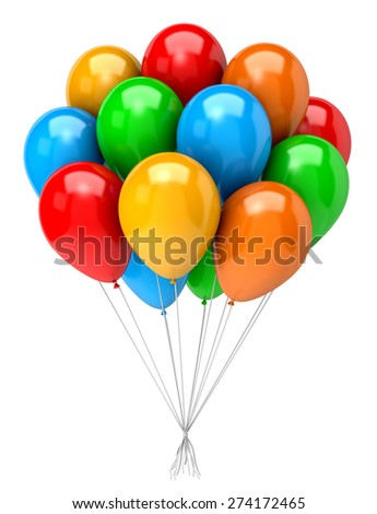 Bunch of Vibrant Color Balloons on White Background 3D Illustration - stock photo