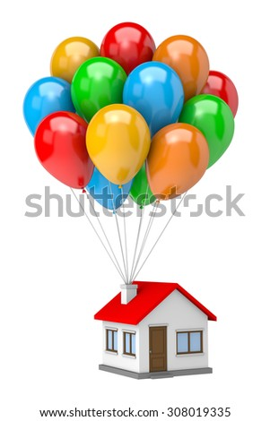 Bunch of Vibrant Color Balloons Raising Up an House Isolated on White Background 3D Illustration - stock photo