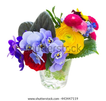 Bunch of violets, pansies, daisies and ranunculus in glass isolated on white background