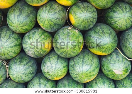 Bunch of watermelon. Asian tropical fruits. - stock photo