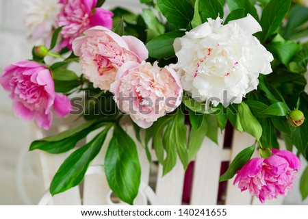 Bunch of white and pink peonies closeup - stock photo