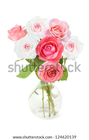 Bunch of white and pink roses in vase isolated on white - stock photo