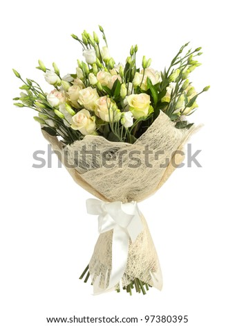 Bunch of white and tea roses isolated on white - stock photo