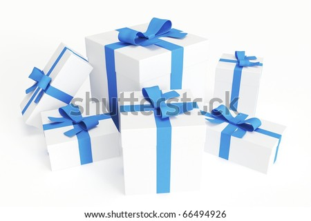Bunch of white gift boxes with blue ribbons