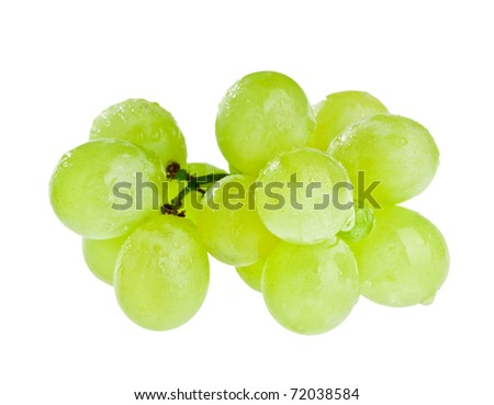 Bunch of white grapes with water drops isolated on white - stock photo