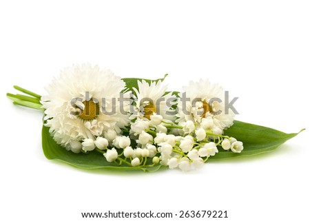 Bunch of white lily of the valley and marguerites on white background - stock photo