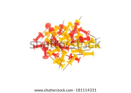 Bunch of yellow and red office buttons isolated on white background - stock photo
