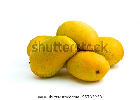 Bunch of yellow Asian mangoes on white background - stock photo