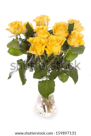 Bunch of yellow roses in a vase white background
