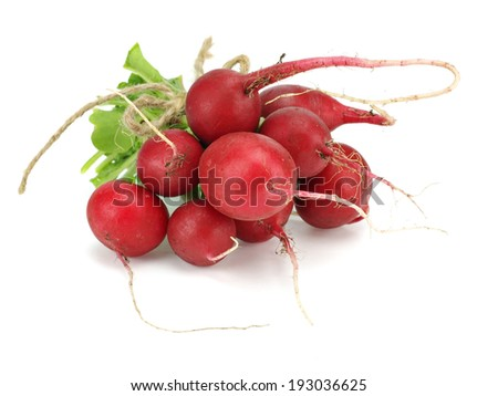 Bunch oh fresh garden radish on a white background    - stock photo