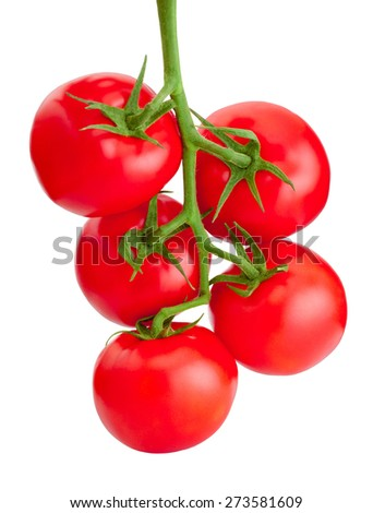 Bunch red fresh Tomatoes isolated on white background - stock photo