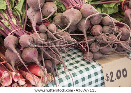 Bunches of fresh beets and rhubarb stocks for sale at an outdoor farmers market