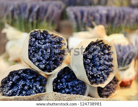 Bunches of lavenders, street market in Praha. Christmas time - stock photo