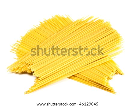 bunches of spaghetti isolated on white background - stock photo