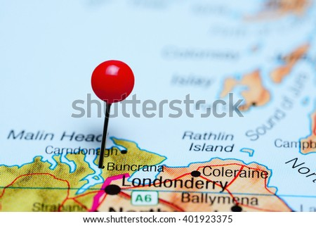 Buncrana pinned on a map of Ireland