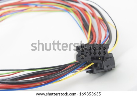 bundle of car electrical connectors - stock photo