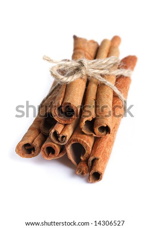 Bundle of cinnamon stick isolated on white