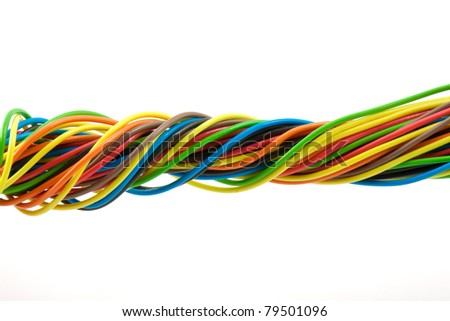 Bundle of color cable - stock photo