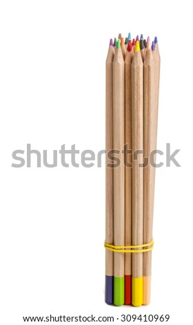 Bundle of colored pencils in a vertical position against a white background. - stock photo
