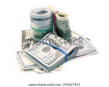 Bundle of Dollar Bills isolated on white background    - stock photo