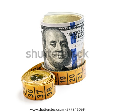 bundle of dollars belted measuring tape isolated on white background - stock photo