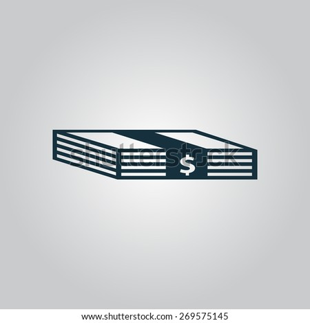 Bundle of Dollars. Flat web icon, sign or button isolated on grey background. Collection modern trend concept design style illustration symbol - stock photo