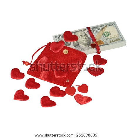 Bundle of dollars in red pouch with red hearts  isolated - stock photo